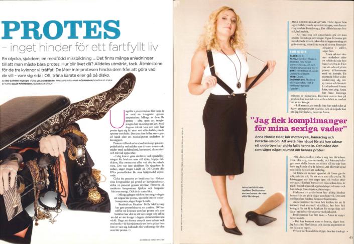 Reportage i Damernas Värld om kvinnor som har proteser. Skribent Ing-Cathrin Nilsson.