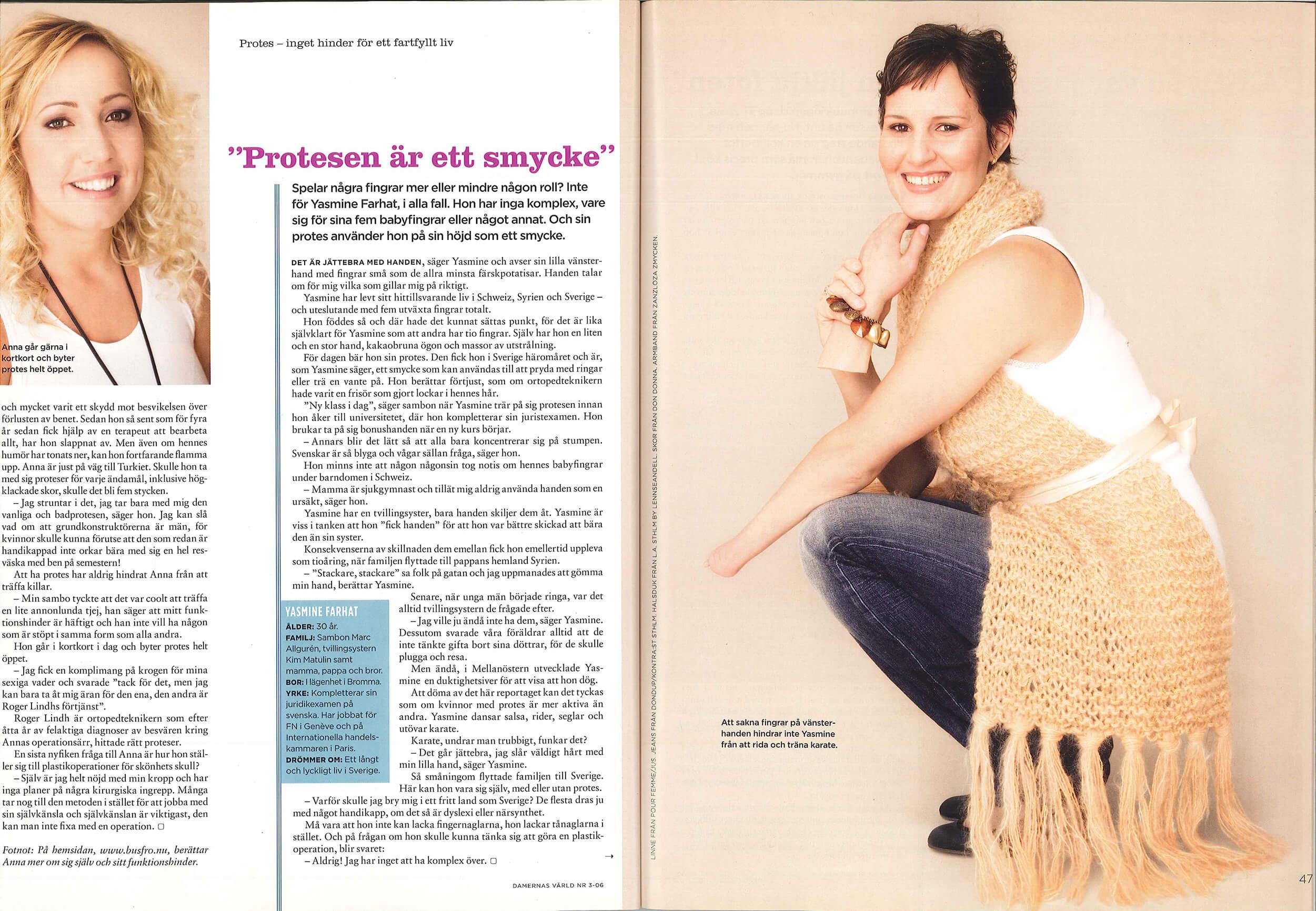 Reportage om kvinnor som har proteser i Damernas Värld. Skribent Ing-Cathrin Nilsson.