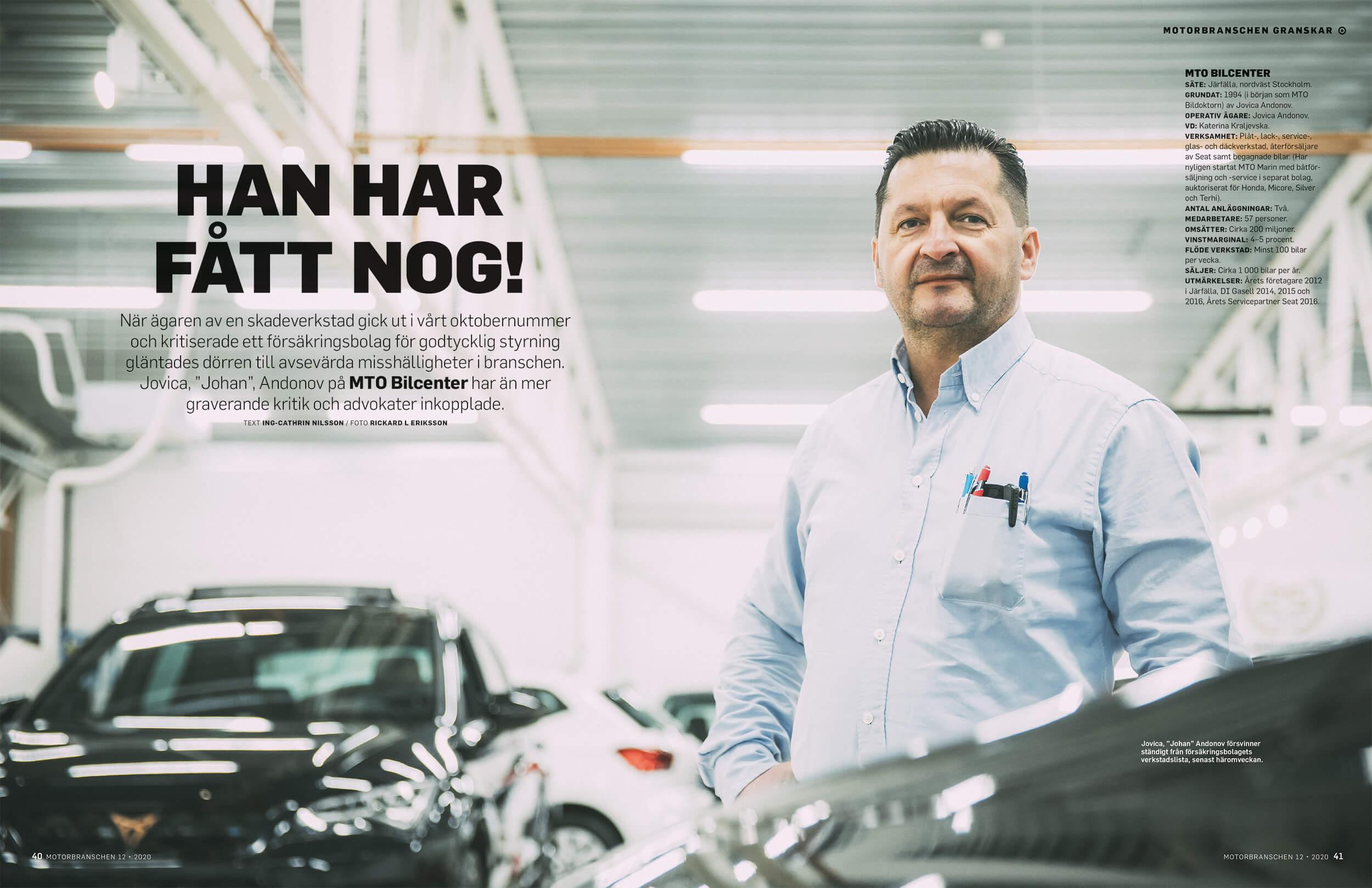 """Intervju i tidningen Motorbranschen med Jovica, """"Johan"""", Andonov på MTO Bilcenter. Skribent Ing-Cathrin Nilsson"""