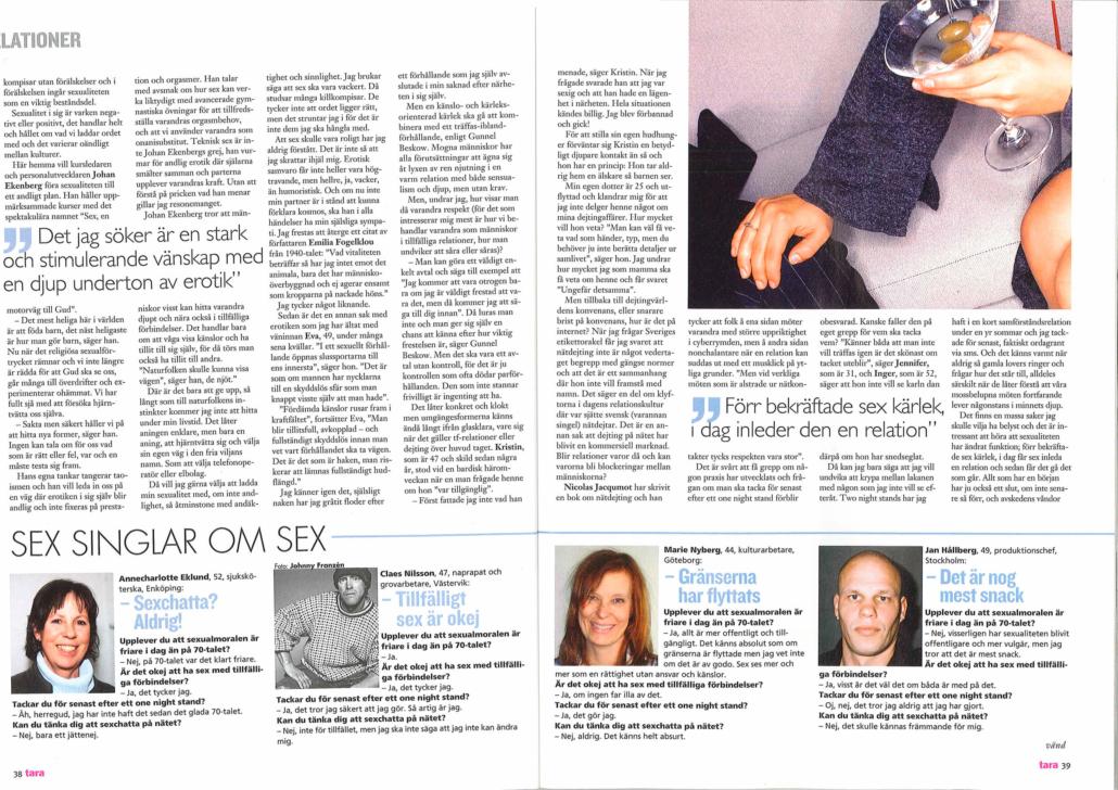 Reportage – Hur funkar sex nu för tiden? Skribent: Ing-Cathrin Nilsson
